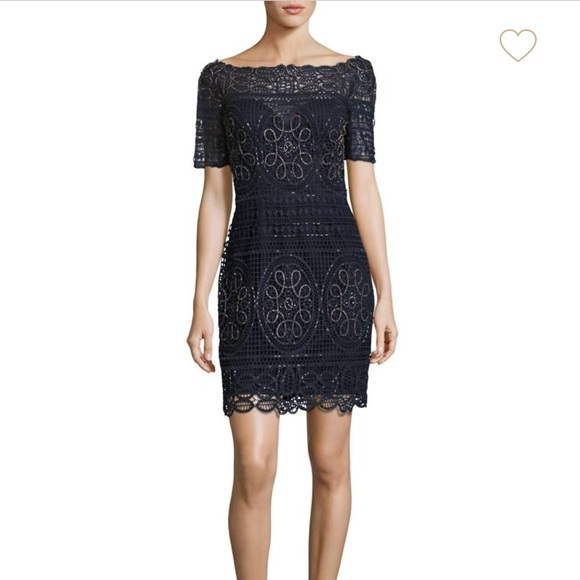 41dea6e9e9065d Aidan Mattox Off-The-Shoulder Lace Dress